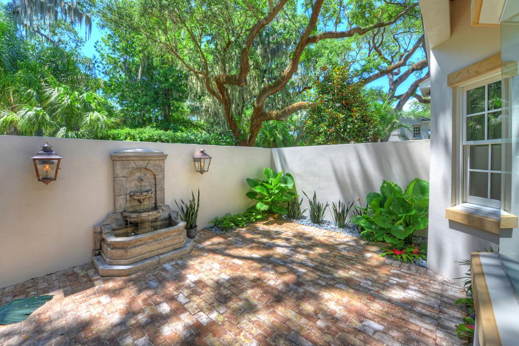 Brick patio with fountain