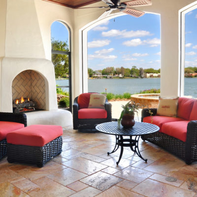 outdoors space at custom home in Florida
