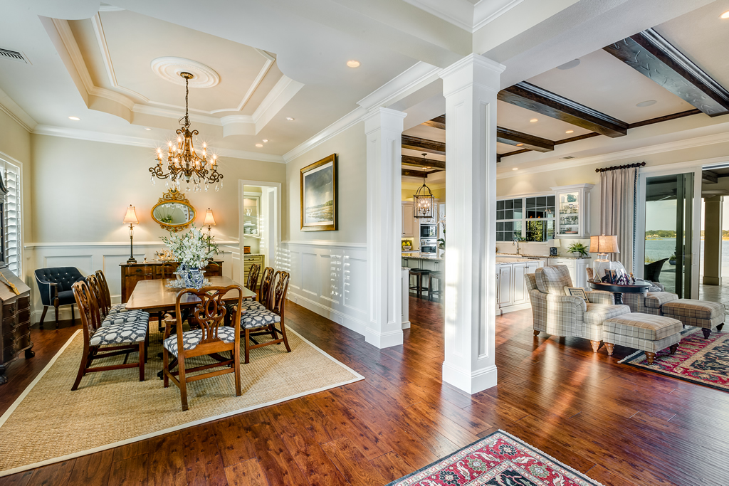 Open floor plan view of dining room, living room and kitchen