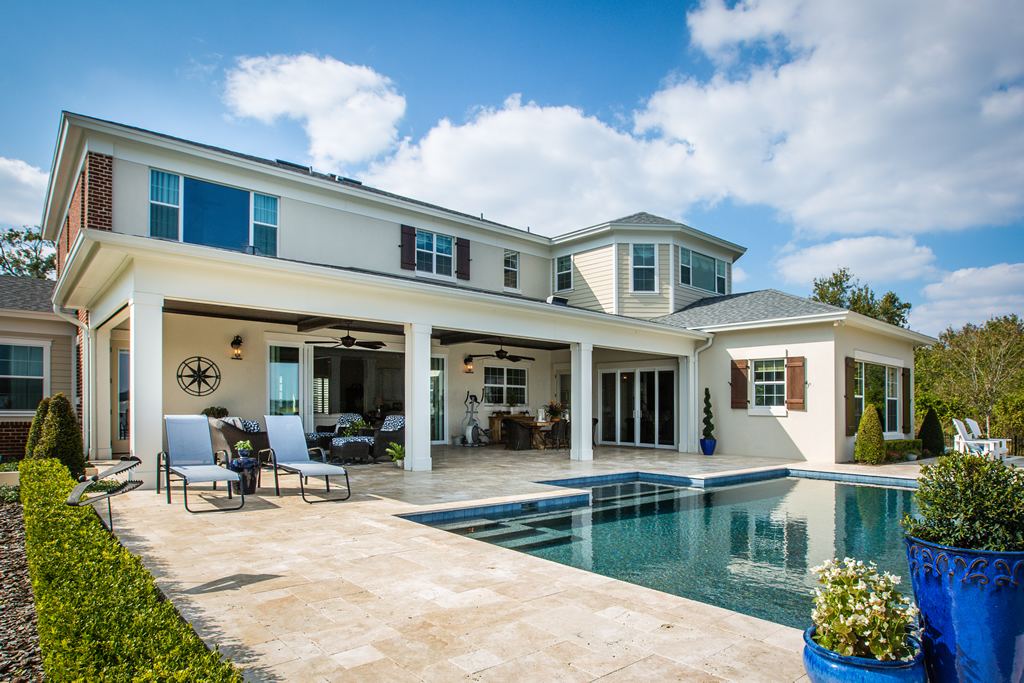 Pool and large covered patio