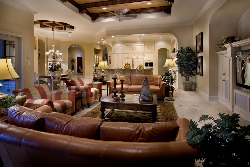 custom home open living room in Central Florida