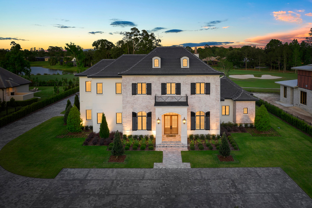 Aerial Photo of a Custom Home at Twilight