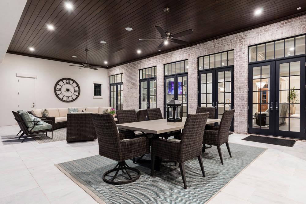 Custom home lanai seating area