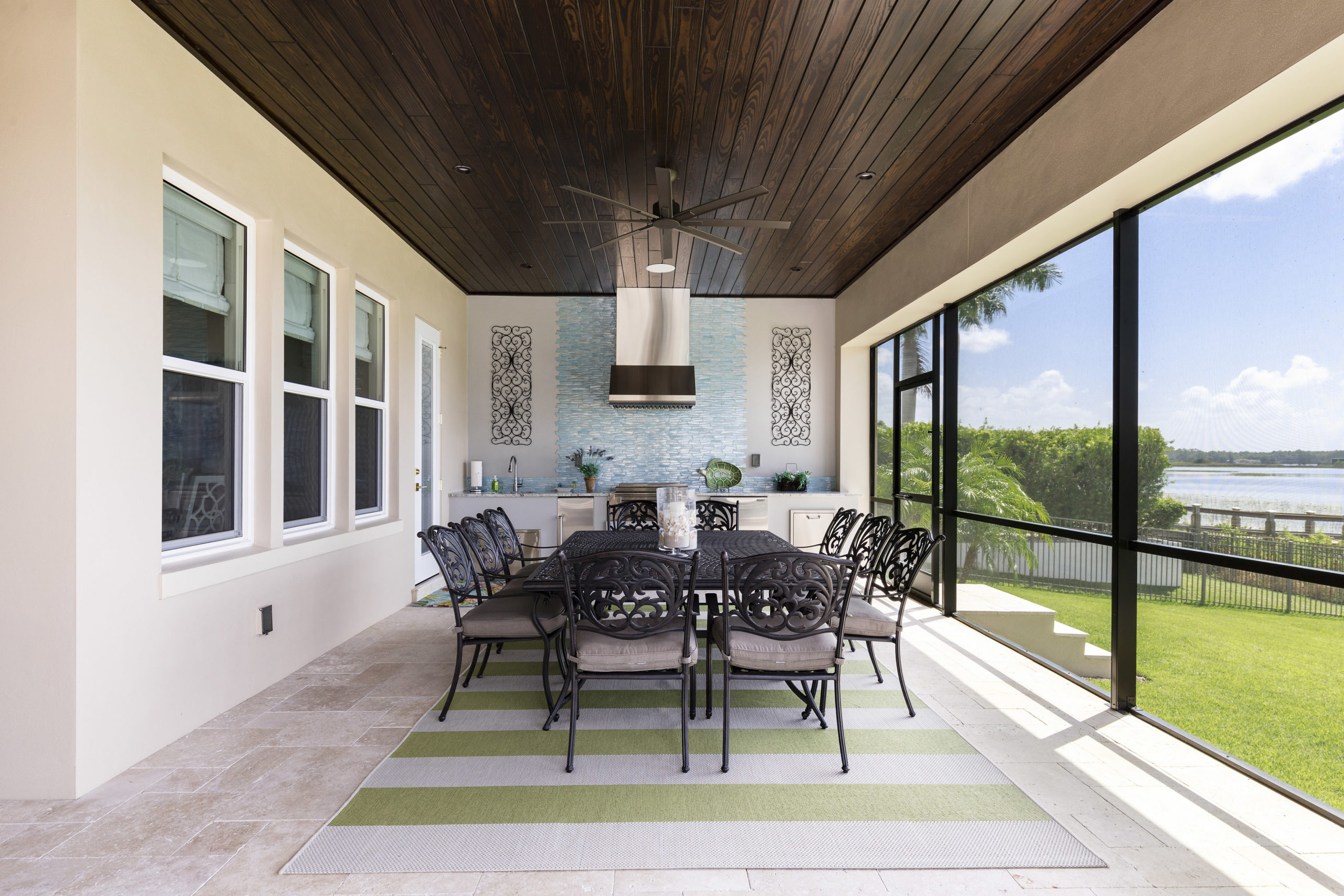 Outdoor stone patio with kitchen